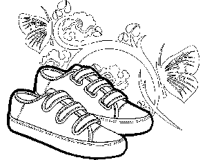 Sneakers with Butterflies Coloring Page