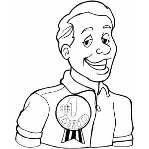 Dad With Medal coloring page