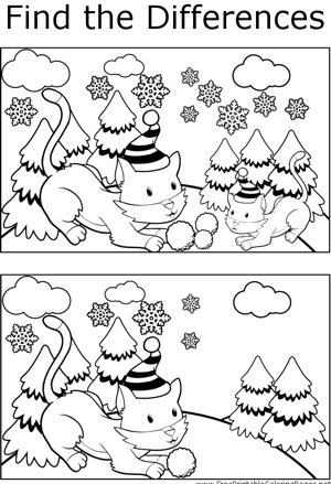 FTD Cat Snowball Fight coloring page