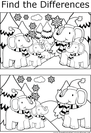 FTD Christmas Elephants coloring page