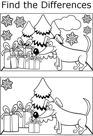FTD Dog and Presents coloring page
