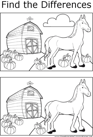 FTD Horse and Pumpkins coloring page