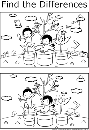 FTD Kids and Plants coloring page
