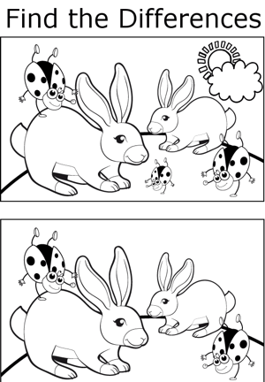 FTD Rabbits and Ladybugs coloring page