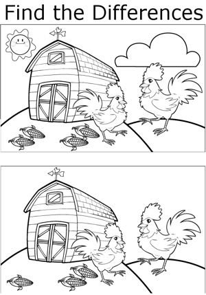 FTD Roosters and Corn coloring page