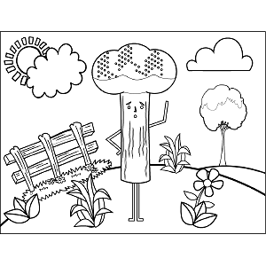 Broccoli with Feet coloring page