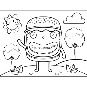Grinning Burger coloring page