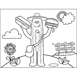 Pickle Holding Sandwiches coloring page