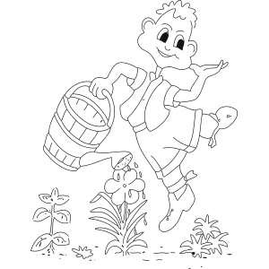 Boy Watering Flowers coloring page