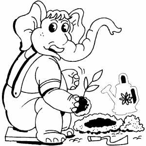 Elephant Gardener coloring page