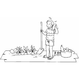 Gardener Boy With Shover coloring page