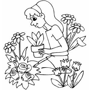 Gardener Sitting In Flowers coloring page