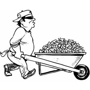 Gardener With Wheelbarrow coloring page