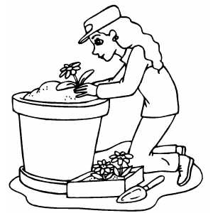 Girl Putting Flower In Flowerpot coloring page