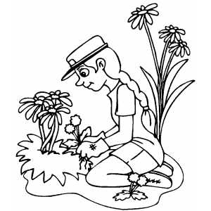 Girl Working With Flowers coloring page