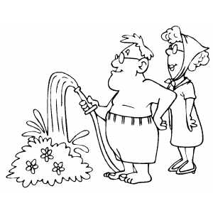 Guy Watering Bush coloring page
