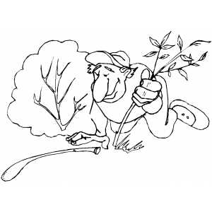Man In Bushes coloring page