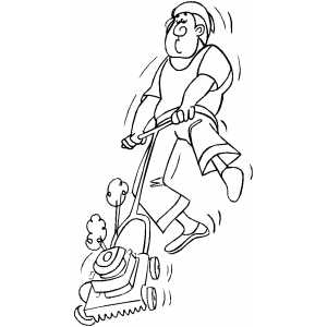 Man Mowing Lawn coloring page
