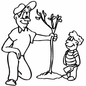 man with boy planting tree coloring page