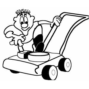 Man With Lawnmover coloring page