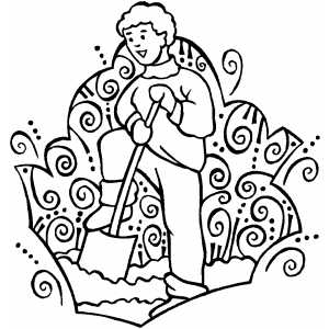 Man Working With Shovel coloring page