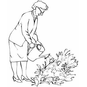 Old Woman Watering Plants coloring page