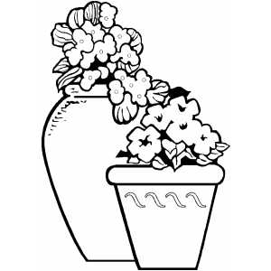 Two Flower Pots coloring page