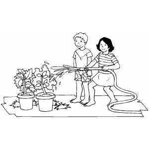Watering Trees coloring page