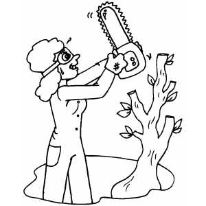 Woman Cutting Tree Down coloring page