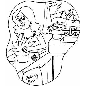 Woman Potting Plants coloring page