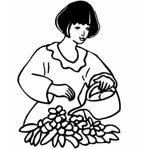 Woman Watering Flowers coloring page