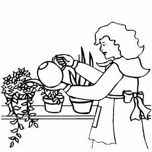 Woman Watering Plants coloring page