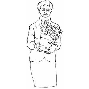 Woman With Plant coloring page
