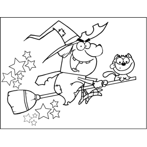 Angry Witch Riding Broom coloring page