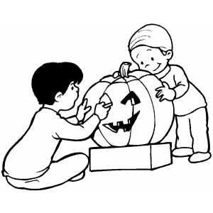 Children Carving Pumpkin coloring page