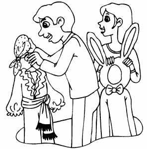 Couple With Costumes coloring page