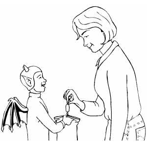 Devil Trick Or Treat coloring page