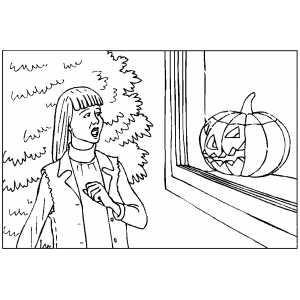 Frightened By Pumpkin coloring page