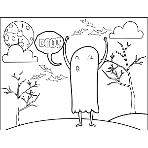Ghost Says Boo coloring page