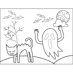 Ghost and Cat coloring page