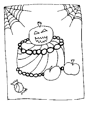 Halloween Cake Coloring Page
