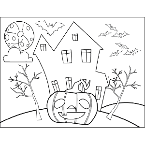 Jack-o-Lantern Haunted House coloring page