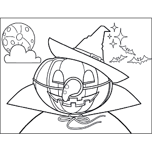 Jack-o-Lantern with Witch Hat coloring page