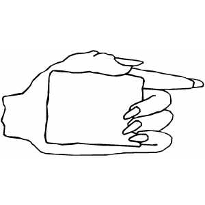 Left Hand With Sign coloring page