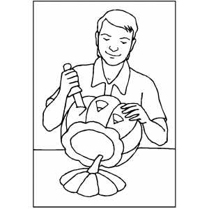 Man Carving Pumpkin coloring page