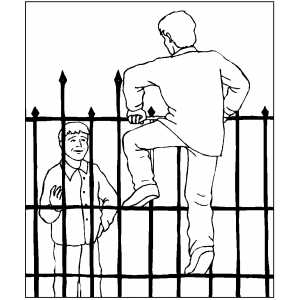Man Climbing Cemetery Fence coloring page