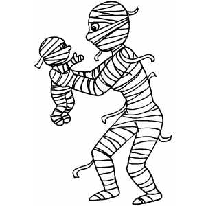 Baby Halloween Coloring Pages. Mummy And Baby Coloring Page