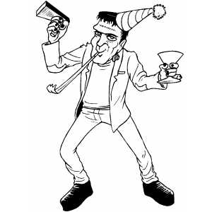 Partying Frankenstein coloring page