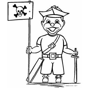 Pirate Costume With Flag coloring page