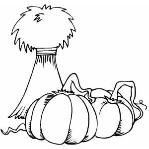 Pumpkin And Hay coloring page